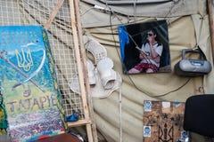 Tenda su Maidan e su abitante Fotografia Stock