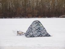 Tenda sul ghiaccio Fotografia Stock Libera da Diritti
