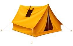 Tenda turistica gialla per la corsa ed accamparsi Immagini Stock