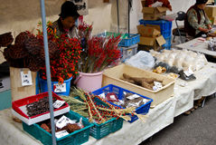 Tenda vegetal do mercado no mercado da manhã da cidade velha de Hida Takayama, Japão Imagem de Stock