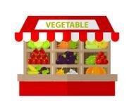 Tenda vegetal local Loja fresca dos produtos de alimento biológico liso Foto de Stock Royalty Free