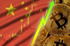 Tendance croissante de drapeau et de cryptocurrency de la Chine avec beaucoup de bitcoins d'or illustration de vecteur