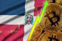 Tendance croissante de drapeau et de cryptocurrency de la République Dominicaine avec beaucoup de bitcoins d'or illustration stock