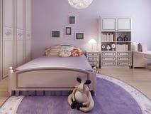 Chambre A Coucher Girly Avec La Decoration De Mur Image Stock