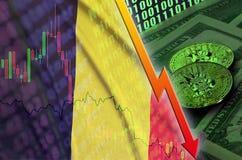 Tendance en baisse de drapeau et de cryptocurrency de la Belgique avec deux bitcoins sur les billets d'un dollar et l'affichage d illustration de vecteur