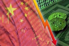 Tendance en baisse de drapeau et de cryptocurrency de la Chine avec deux bitcoins sur les billets d'un dollar et l'affichage de c illustration libre de droits