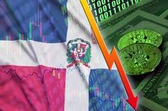 Tendance en baisse de drapeau et de cryptocurrency de la République Dominicaine avec deux bitcoins sur les billets d'un dollar et illustration libre de droits