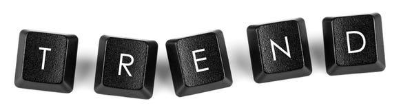 Tendance sur des boutons de clavier Images libres de droits