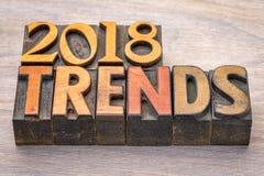 2018 tendances dans le type en bois d'impression typographique Photographie stock libre de droits