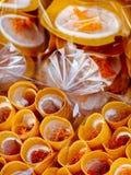 Tendas de rua asiáticas empacotadas das panquecas dos crepes dos doces Foto de Stock Royalty Free