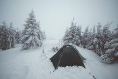 Tende congelate nell'alta montagna Fotografia Stock Libera da Diritti