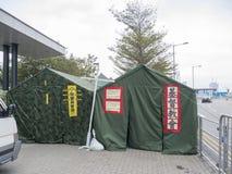 Tende davanti agli uffici di amministrazione centrale - rivoluzione dell'ombrello, Ministero della marina, Hong Kong Immagini Stock Libere da Diritti