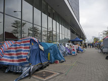 Tende davanti agli uffici di amministrazione centrale - rivoluzione dell'ombrello, Ministero della marina, Hong Kong Immagine Stock