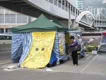 Tende davanti agli uffici di amministrazione centrale - rivoluzione dell'ombrello, Ministero della marina, Hong Kong Fotografia Stock Libera da Diritti