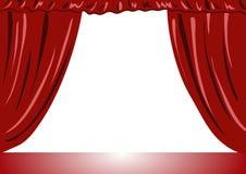 Tende del teatro con l'illustrazione vectorial della priorità bassa bianca Fotografia Stock Libera da Diritti