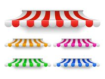 Tende della tenda del negozio per la finestra Baldacchino all'aperto del mercato, tetto d'annata del deposito illustrazione di stock