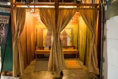 Tende dello spogliatoio allo studio Fotografie Stock Libere da Diritti