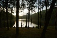 Tende di campeggio al campeggio all'aperto vicino al lago Immagini Stock Libere da Diritti
