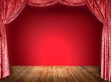 Tende eleganti di rosso del teatro Fotografia Stock