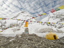 Tende nel campo base di Everest, Nepal. Immagine Stock