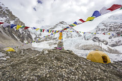 Tende nel campo base di Everest, Nepal. Fotografie Stock