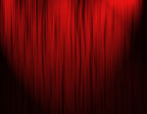 Tende rosse del teatro Fotografie Stock Libere da Diritti