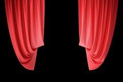 Tende rosse della fase del velluto, color scarlatto dei drappi del teatro Tende classiche di seta, tenda rossa del teatro rappres Fotografia Stock Libera da Diritti