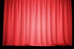 Tende rosse della fase del velluto, color scarlatto dei drappi del teatro Tende classiche di seta, tenda rossa del teatro rappres Fotografie Stock