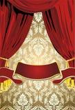 Tende rosse di Teatrical, priorità bassa dell'oro Fotografia Stock