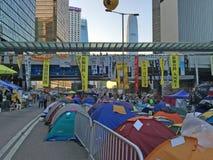 Tende sulla strada - rivoluzione dell'ombrello a Ministero della marina, Hong Kong Immagine Stock