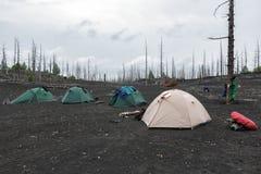 Tende turistiche che stanno in legno morto sulla penisola di Kamchatka Fotografie Stock