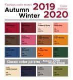 Tendencia Autumn Winter del color de la moda 2019-2020 y paleta de colores clásica ilustración del vector