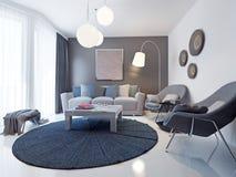 Tendencia contemporánea brillante de la sala de estar Fotos de archivo