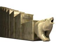 Tendencia del mercado de oso echada en oro Fotos de archivo libres de regalías