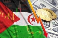 Tendencia descendente de la bandera y del cryptocurrency de Western Sahara con dos bitcoins en billetes de dólar libre illustration
