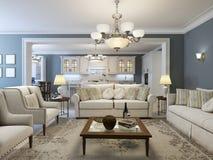 Tendencia mediterránea de la sala de estar Foto de archivo libre de regalías