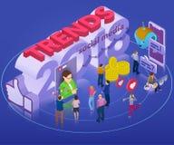Tendencias en la red social 2018 Bandera isométrica plana 3d Chatbot, difusión video, historias, promoción de SMM, analytics en l Fotografía de archivo libre de regalías