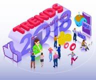 Tendencias en los medios sociales 2018 Chatbot, difusión video, historias, promoción de SMM, analytics en línea Gente en red soci stock de ilustración