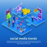 Tendencias en los medios sociales 2018 Chatbot, difusión video, historias, promoción de SMM, analytics en línea Gente en red soci ilustración del vector
