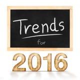 Tendencias para 2016 en la pizarra en el fondo blanco Foto de archivo libre de regalías