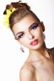 Tendency. Futurism. Showy  Fashion Model with Long Eyelashes Stock Photo