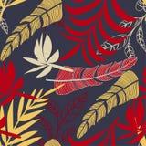 Tendens naadloos patroon met heldere tropische bladeren en installaties op een grijze achtergrond Vector ontwerp Wildernisdruk Bl stock illustratie