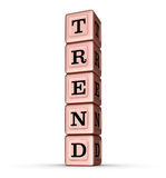 Tendensword Teken Verticale Stapel van Rose Gold Metallic Toy Blocks vector illustratie