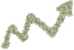 Tendenza in aumento fatta dei dollari come simbolo di crescita finanziaria Immagini Stock