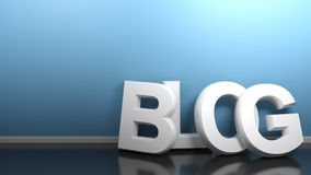 Tendenza bianca del BLOG alla parete blu - rappresentazione 3D illustrazione di stock