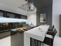 Tendenza in bianco e nero della cucina Fotografie Stock Libere da Diritti
