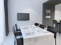 Tendenza in bianco e nero della sala da pranzo Fotografia Stock