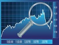 Tendenza del mercato azionario sotto il vetro del magnifier Immagine Stock