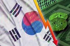 Tendenza di caduta della bandiera e di cryptocurrency della Corea del Sud con due bitcoins sulle banconote in dollari e sull'espo illustrazione vettoriale