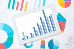 Tendenza di crescita del grafico della compressa immagini stock libere da diritti